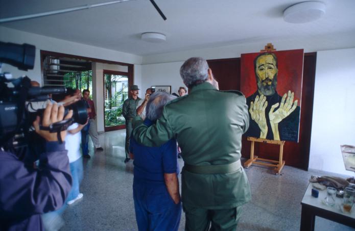 Oswaldo Guayasamin malte Fidel Castro zu seinem 70. Geburtstag (1996). Fotos: ©Sylvio Heufelder.